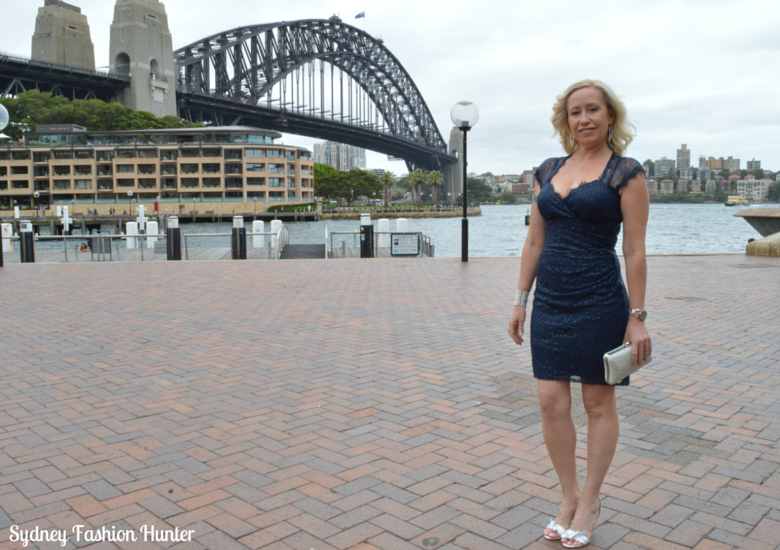 Sydney Harbour Bridge, Events navy sequin dress, Crystal Clutch, Nine West Sweeti Sandals