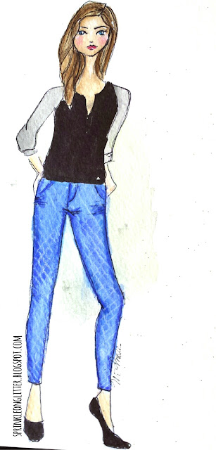 Sprinkle On Glitter Blog// Illustrated Ccapsule Wardrobe- jeans// jeans & blouse
