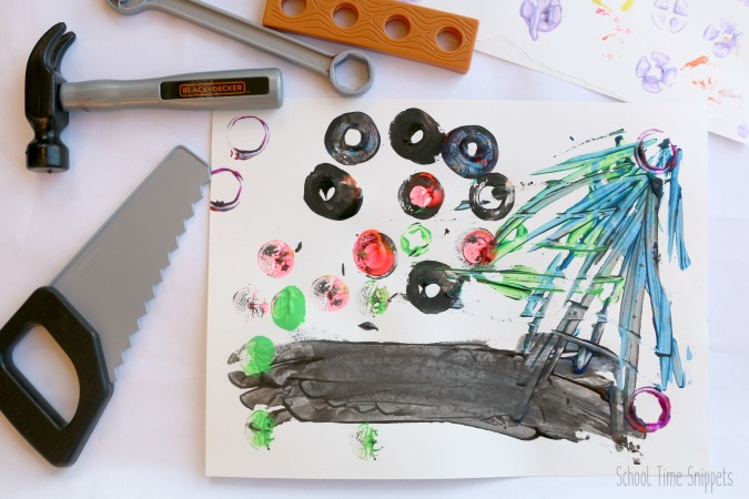 preschool process art painting with tools