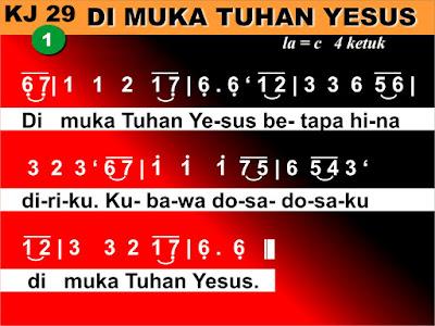 Lirik dan Not Kidung Jemaat 29 Di Muka Tuhan Yesus