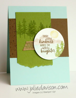 Stampin' Up! Waterfront Mountain Lake Kindness Card ~ 2018 Occasions Catalog ~ Stamp of the Month Club card kit ~ www.juliedavison.com