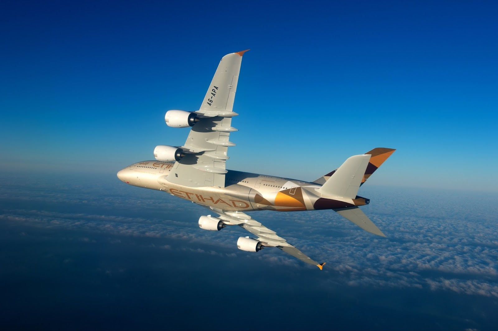 Etihad Airbus A380 800 While Rolling Maneuver