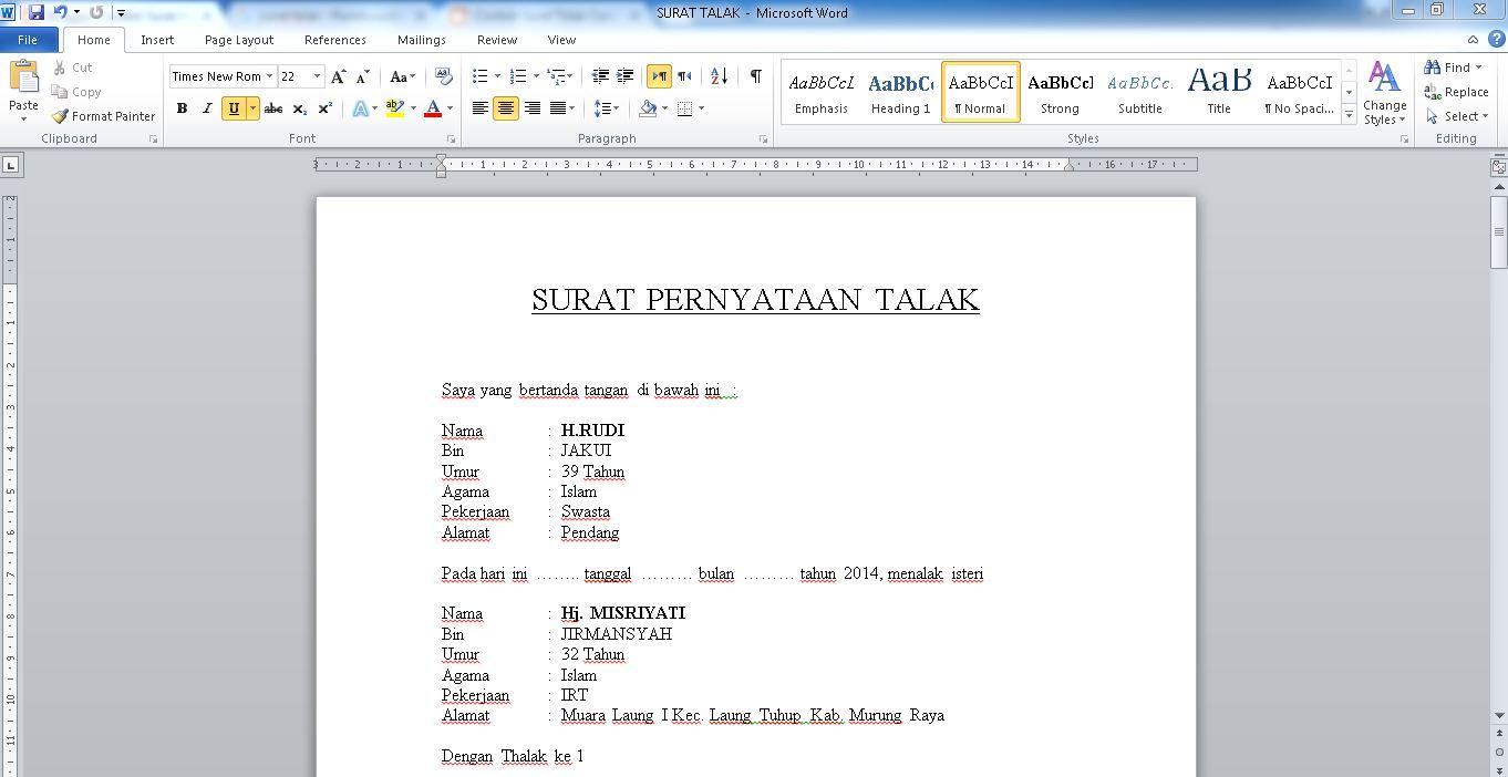 Contoh Surat Talak Simple Suami Kepada Istri Materai 6000