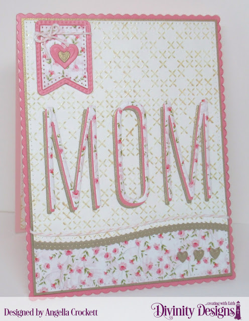 Divinity Designs: Long and Lean Letters Dies, Pretty Pink Peonies Paper Collection, Cross Stitch Embossing Folder, Scalloped Rectangles Dies, Large Banners Dies, Pierced Rectangles Dies, Leafy Edged Borders Dies, Layering Hearts Dies, Clouds and Raindrops Dies, Card Designer Angie Crockett