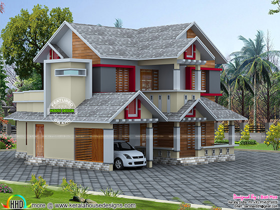 2080 sq-ft sloping roof style modern home