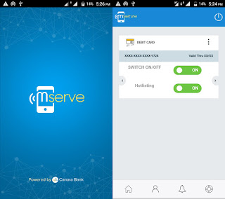 canara mserve app for enabling and disabling card