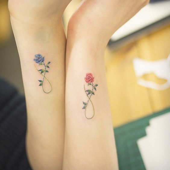 awesome flower matching tattoos