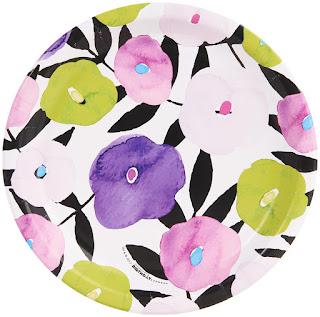Women's Fancy Floral Violet Dinner Plate