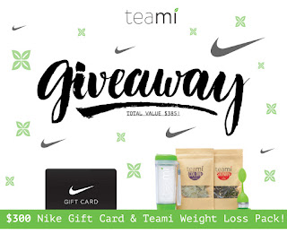 Enter the Teami Giveaway for a $300 Nike Gift Card. Ends 12/31