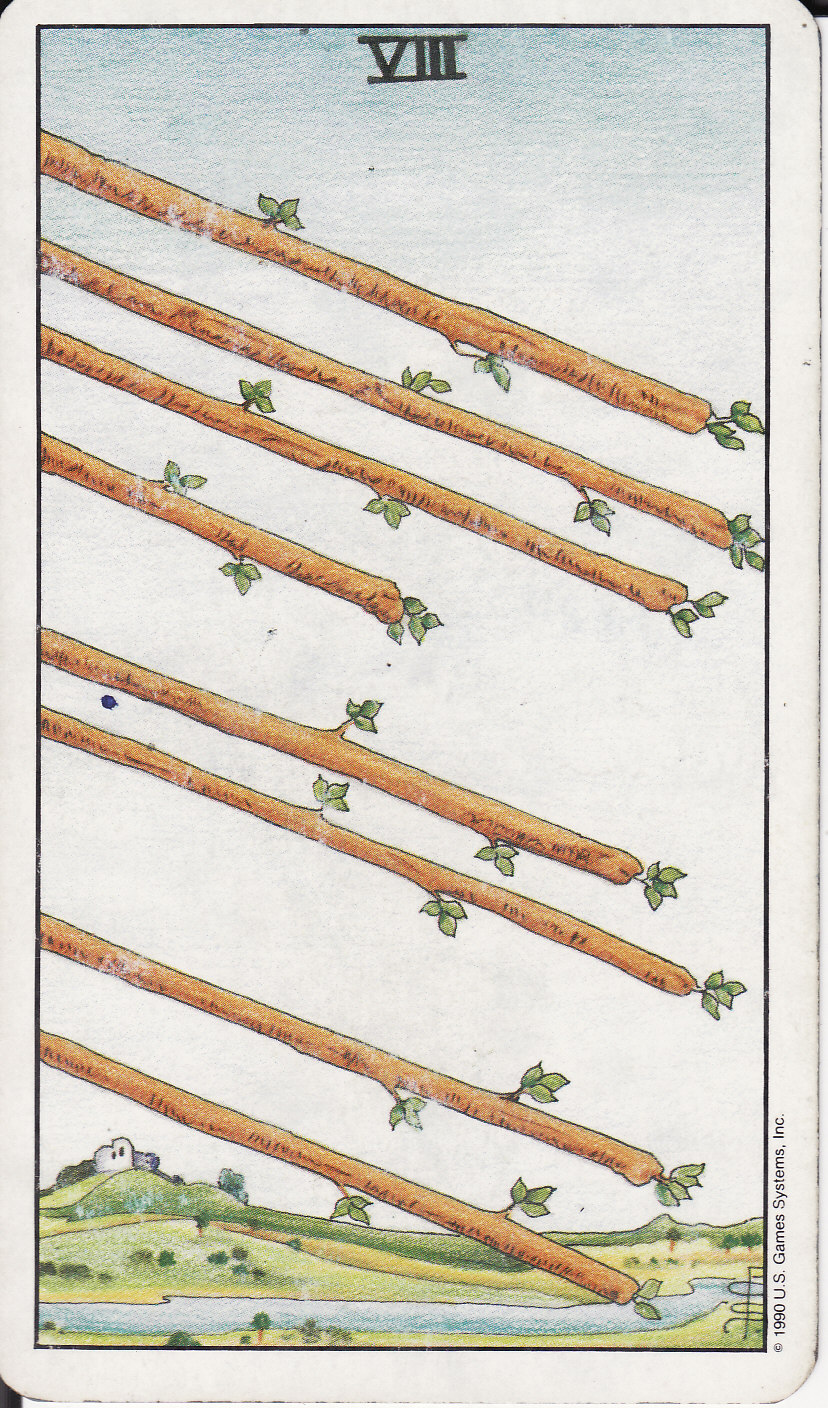 The Wands Suit Tarot Cards Meanings In Readings: The Royal Road: 8 EIGHT OF WANDS VIII
