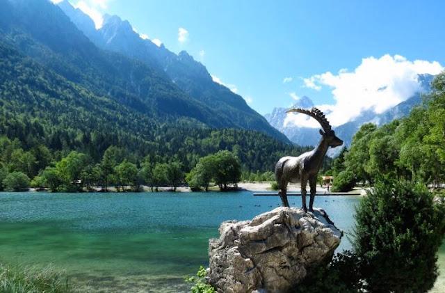The zlatorog (golden horn goat) presides over Lake Jasna - Triglav, Slovenia