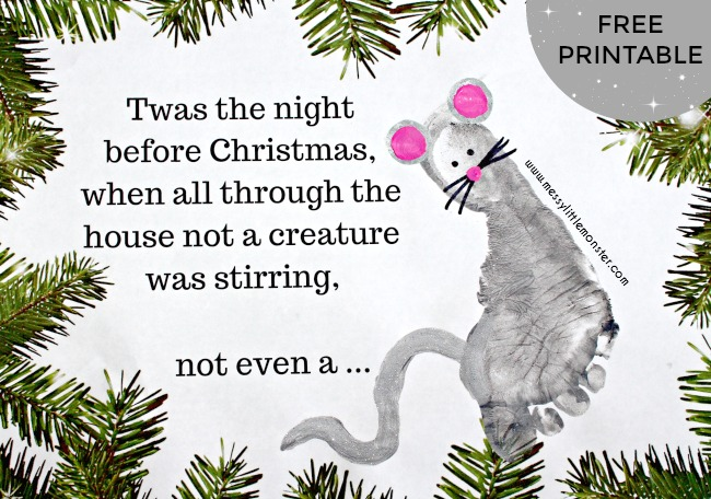 Twas the Night Before Christmas poem printable and footprint mouse. Handmade Christmas cards for kids