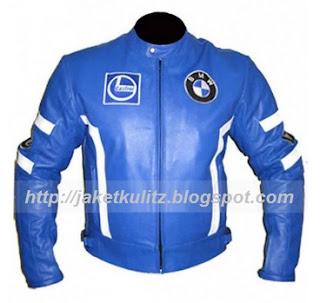 Gambar Jaket Kulit BMW Warna Biru