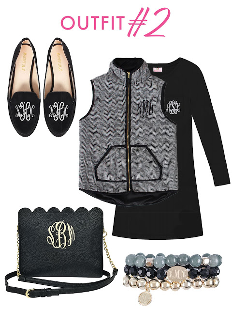 black top and vest and purse and shoes