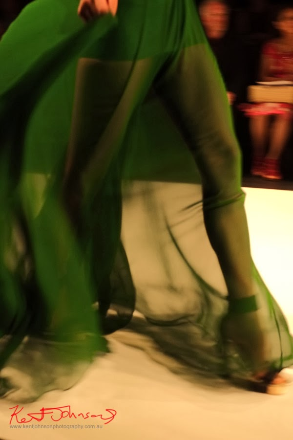 Hong Nhung Luong; sheer green, leg detail - New Byzantium : Raffles Graduate Fashion Parade 2013 - Photography by Kent Johnson.