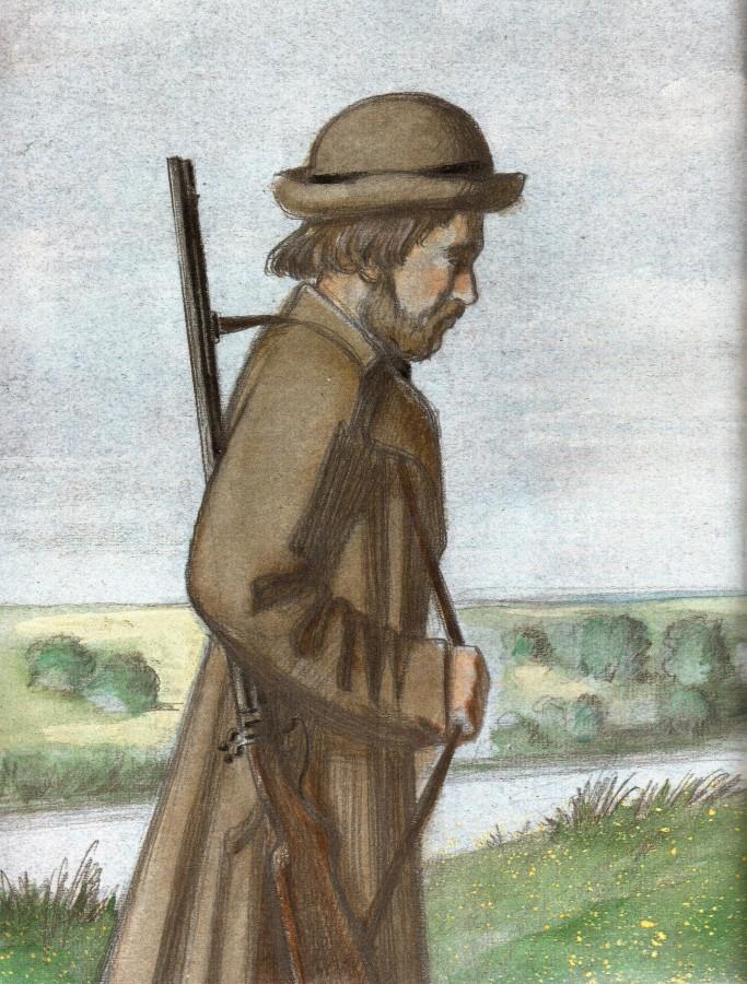 Записки охотника рисунок карандашом