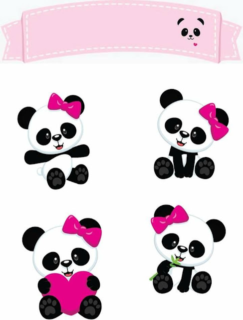 Panda Girl Bear Free Printable Cake Toppers.