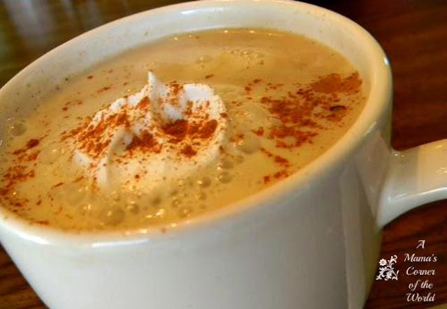 Pumpkin Spice Latte in a white cup