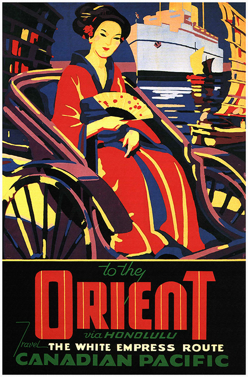 To the Orient, Canadian Pacific - Vintage Travel Poster, classic posters, free download, free posters, free printable, graphic design, printables, retro prints, travel, travel posters, united states, vintage, vintage posters, vintage printables, vintage travel posters