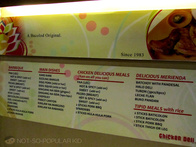 Menu of Chicken Deli Bacolod