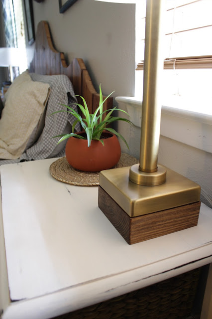 a quick DIY: Adding warm wood tones to a metal lamp.