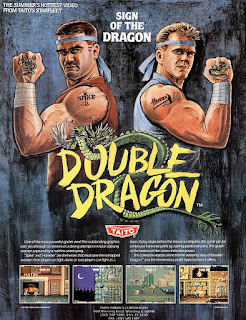 Flyer del arcade Double Dragon, USA, 1987, distribuido por Taito, programado por Technos