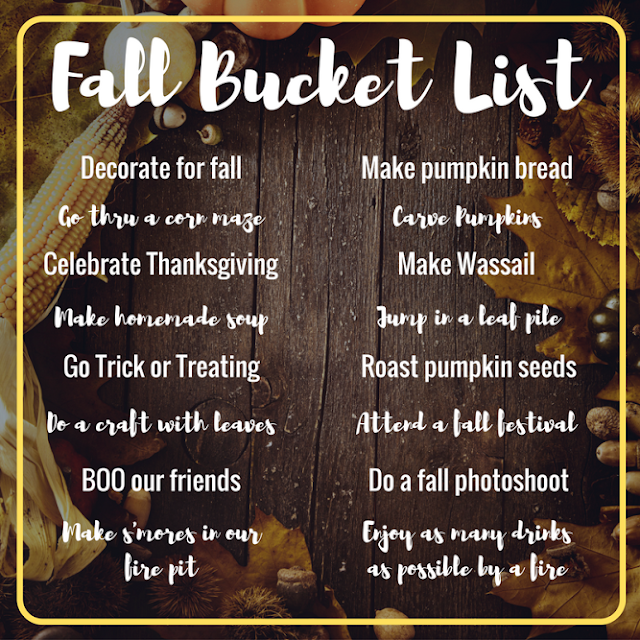 I love everything about fall: cozy scarves. Fire pits. Thanksgiving. All things pumpkin. Corn mazes, pumpkin carving and homemade soups and baking. The smells, the weather and the leaves. #fall #fallbucketlist #bucketlist