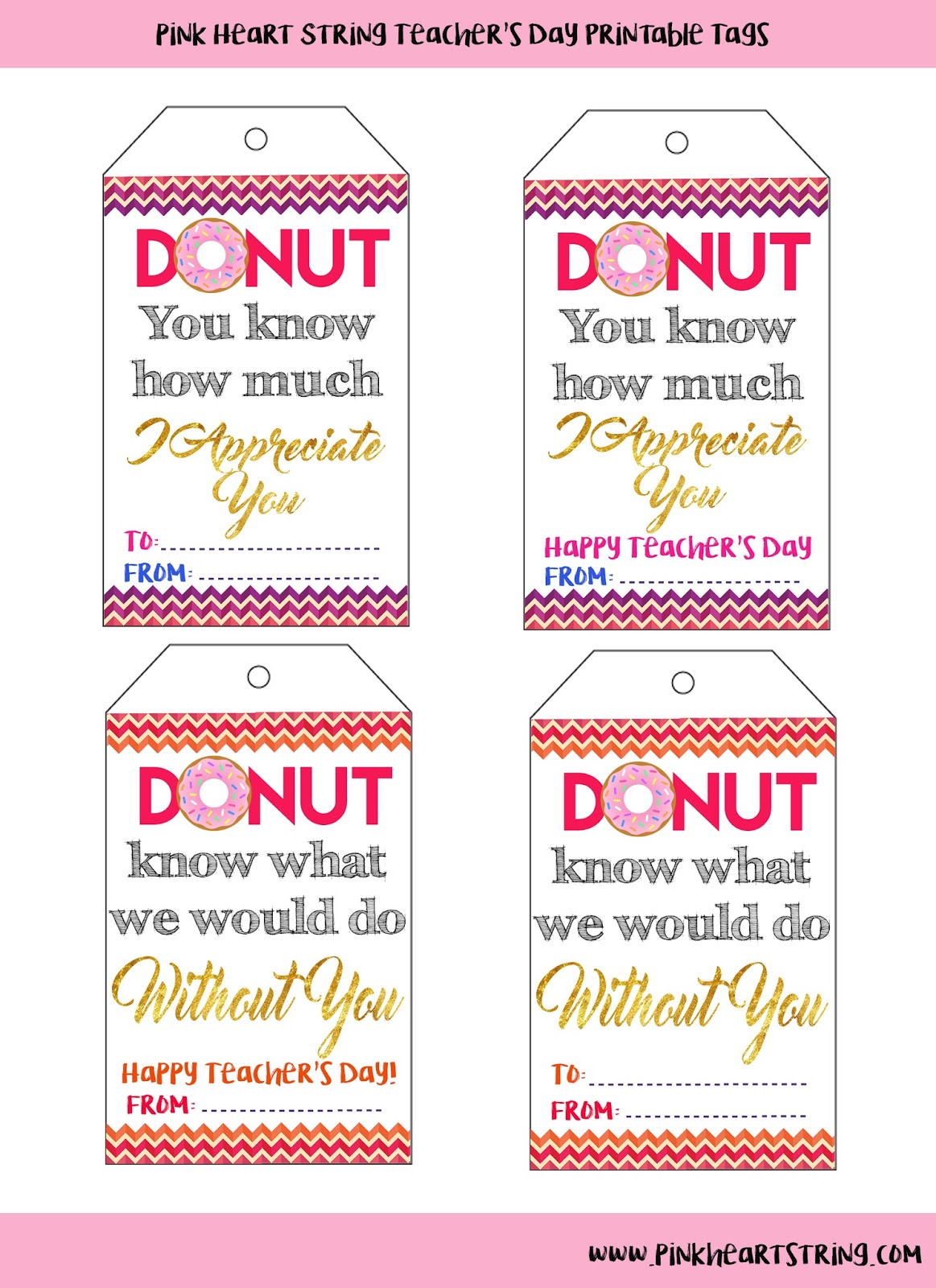 picture relating to Free Printable Teacher Appreciation Tags called Trainer Appreciation Donuts Tags Totally free Printables - Red