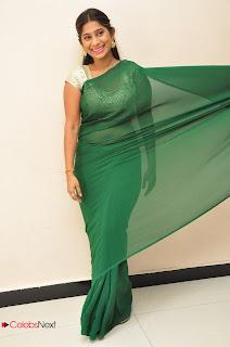 Actrtess Midhuna Stills in Green Saree at Anushtanam movie Audio Launch  0059
