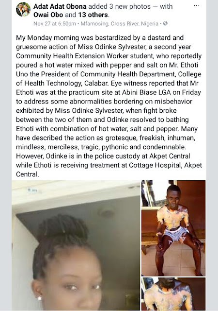 Photos: Health student throws mixture of hot water, pepper and salt on her male colleague in Calabar