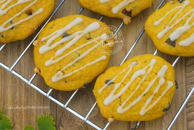Soft Pumpkin Cookies with Vanilla Glaze