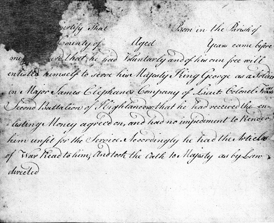 Second Battalion of Highlanders Enlistment Contract, 1757