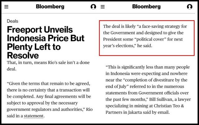 Liputan Bloomberg Mengungkap Divestasi Freeport Terkait Kepentingan Pilpres 2019