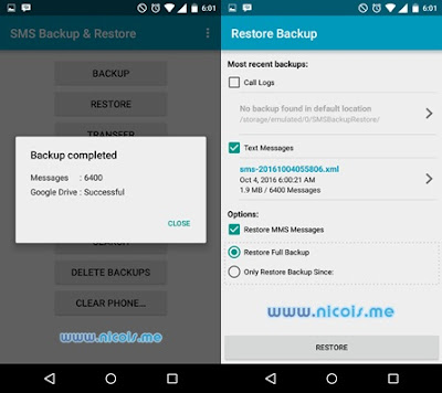 Cara BackUp SMS ke Google Drive di Android
