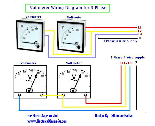how to wire voltmeters for 3 phase voltage measuring electrical online 4u. Black Bedroom Furniture Sets. Home Design Ideas