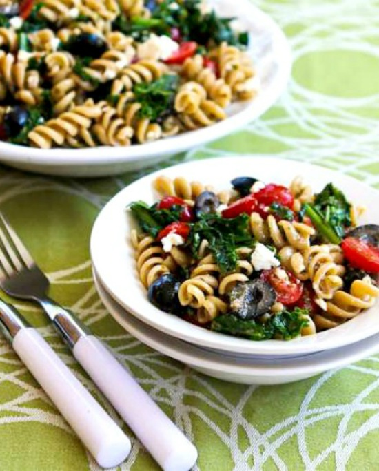 Whole Wheat Pasta Salad with Fried Kale, Tomatoes, Olives, Feta, and Pesto Vinaigrette found on KalynsKitchen.com