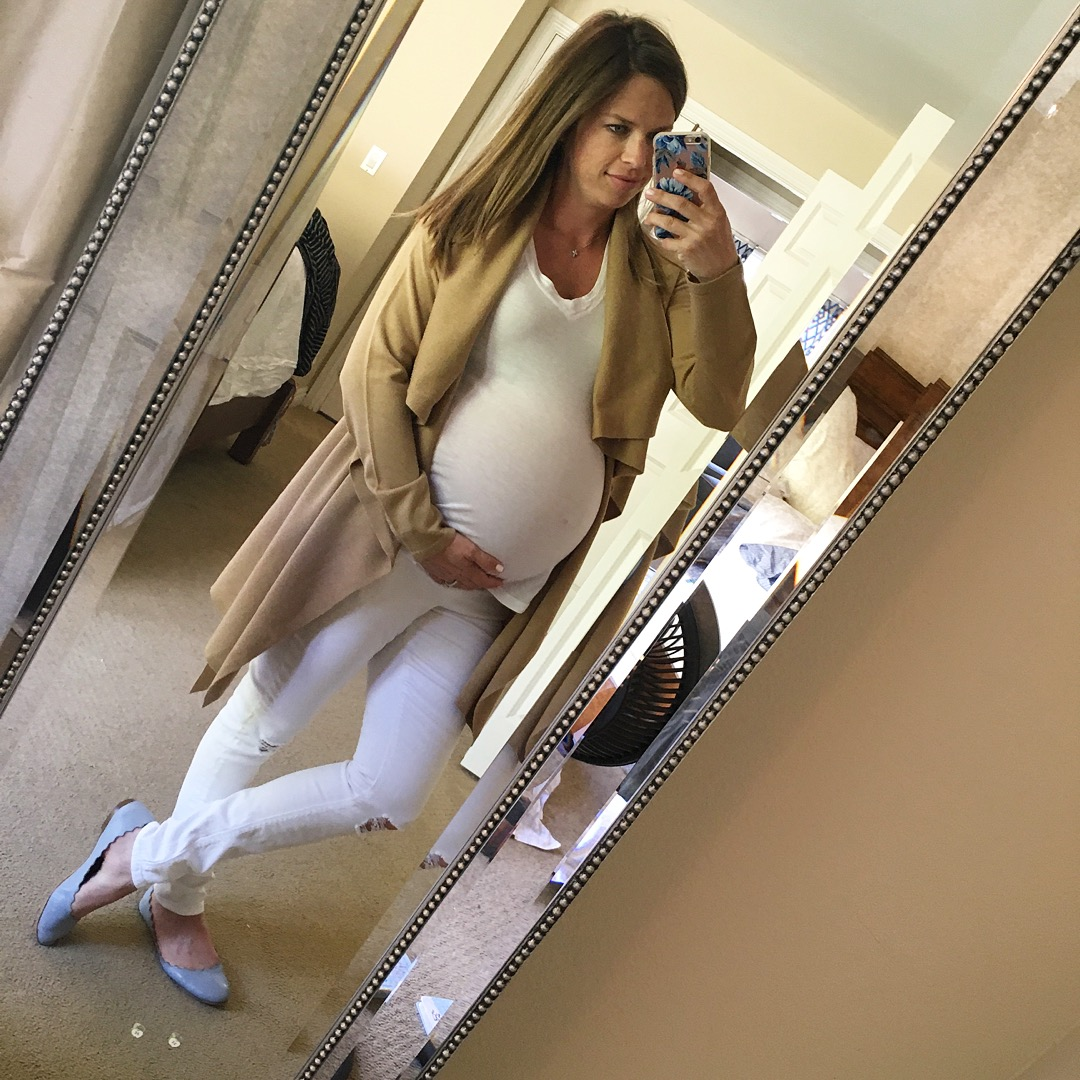 white and neutral maternity outfit