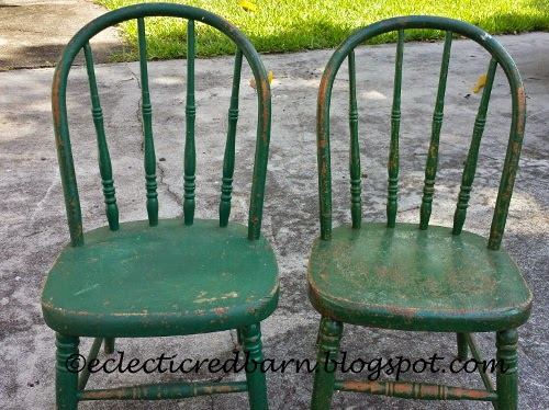 Eclectic Red Barn: Chippy green children's chairs