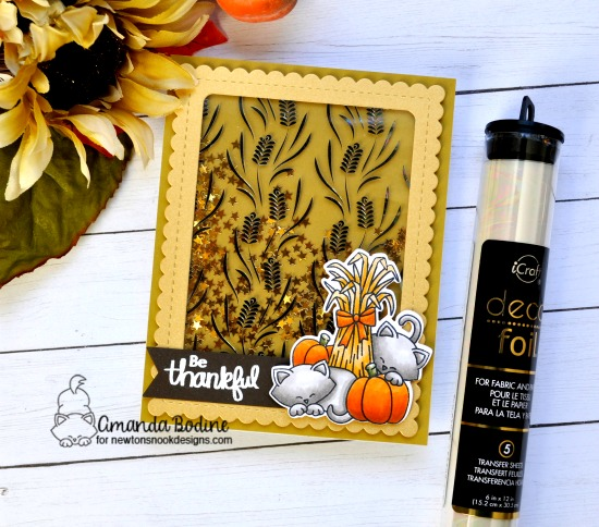 Newton's Nook Designs & Therm O Web Inspiration Week | Fall cats and pumpkins Shaker Card by Amanda Bodine | Autumn Newton Stamp Set by Newton's Nook Designs and Foils by Therm O Web #newtonsnook #handmade