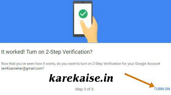 Gmail two step verification turn on