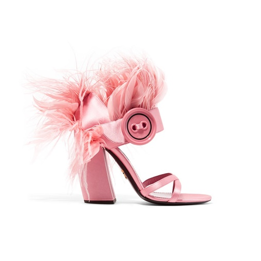 Prada Pink Feather-Trimmed Satin Sandals Giovanna Battaglia