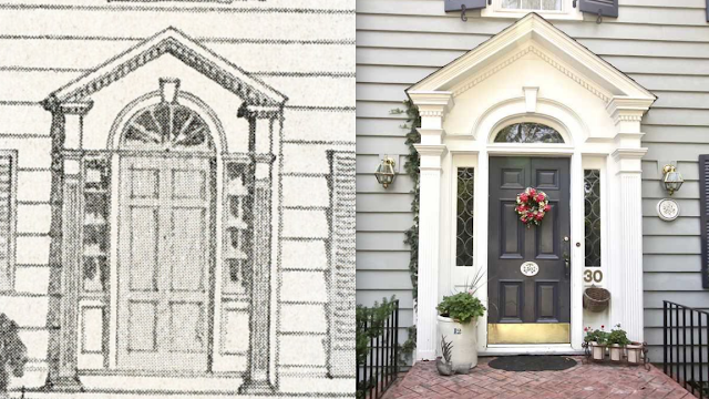comparison of front entry door and surround of Sears New Haven model 30 Hawthorne Ave Delmar NY and catalog image for this house