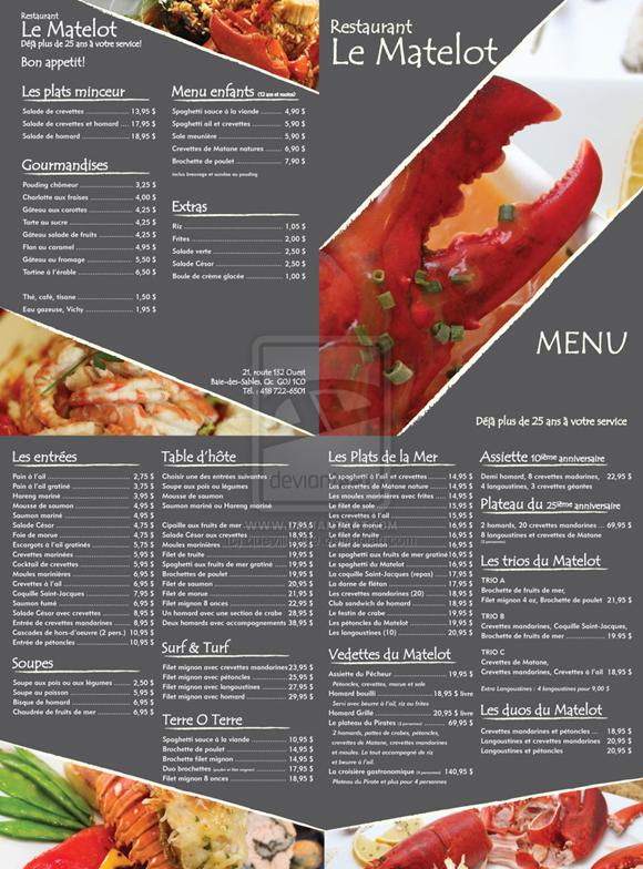 menu nhà hàng cho bạn tham khảo