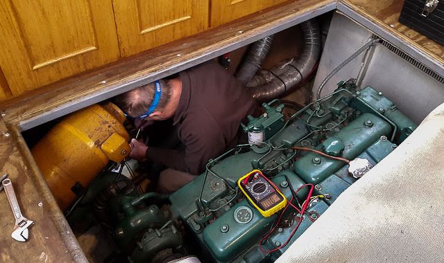 Photo of Phil removing the old Eberspacher 7 heater after it broke down