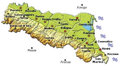 Cartina Fisico Politica Emilia Romagna.Italy Map Geographic Region Province City Emilia Romagna Maps Geographic Region