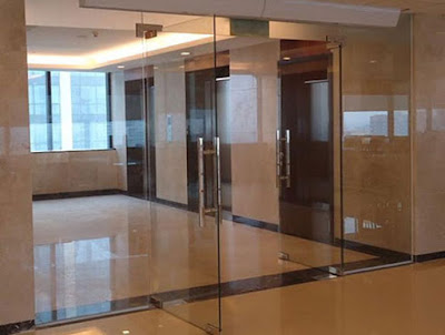 Cửa kính cường lực bản lề sàn cho tòa nhà văn phòng
