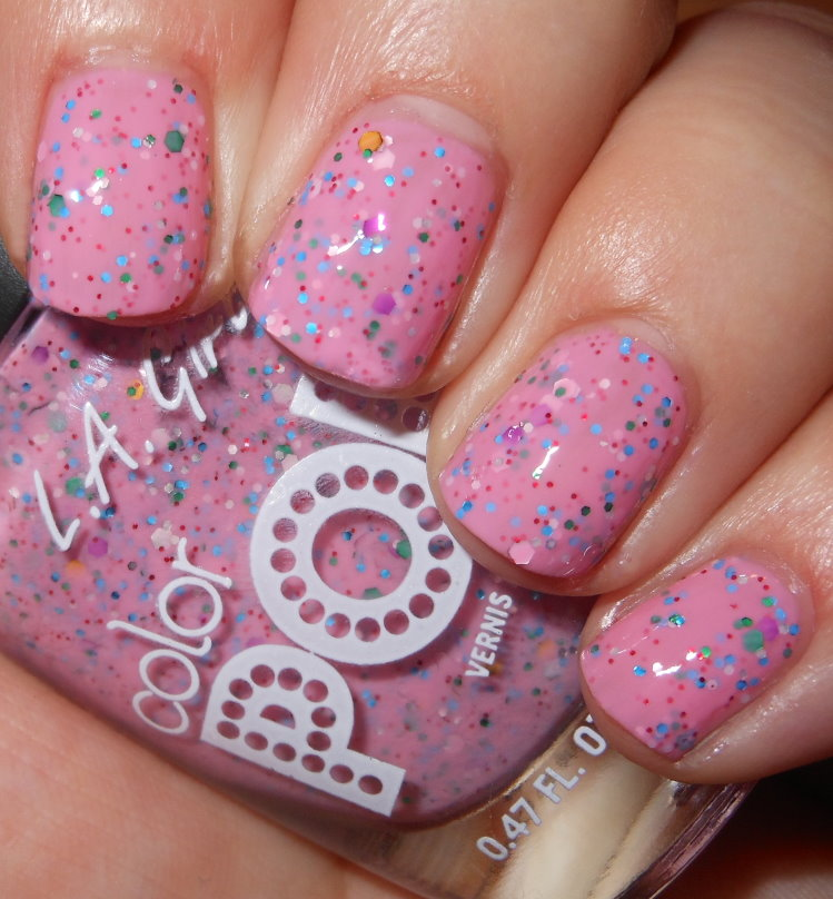 Birthday Cake Is A Soft Cool Toned Bubble Gum Pink Crelly With Multi Colored Glitter