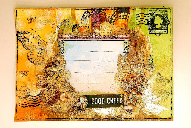 Good Cheer Mail Art by Irene Tan using BoBunny Faith collection