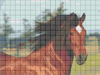 Вышивка лошади бисером. Схема