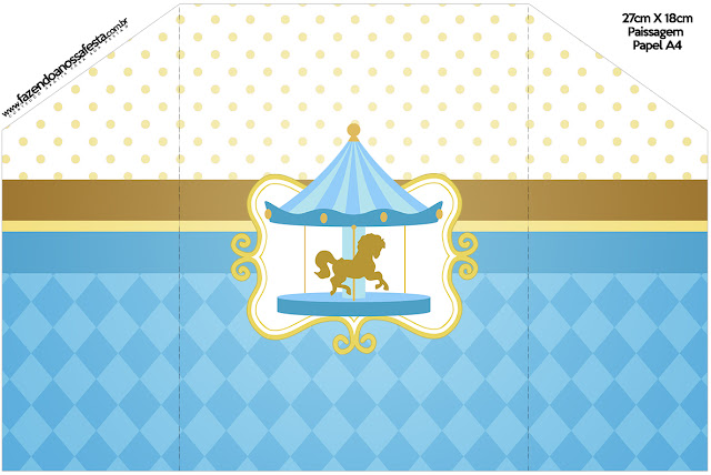 Carousel in Light Blue: Free Printable Invitations.
